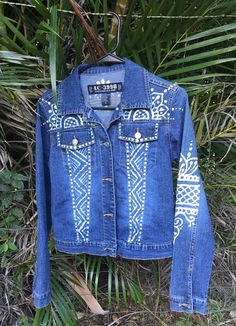 reMused up cycled denim jacket with hand by reMusedClothing