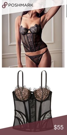 Victoria Secret Black Lace Corset 34B Super cute. Size 34B. Corset only. Worn once for an hour before even going out. It is too big for me ( I typically wear 32 B). This is the smallest size they make . Pretty much brand new. BUNDLE AND GET 10% OFF  Victoria's Secret Intimates & Sleepwear Bras