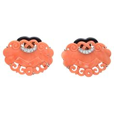 Estate Seaman Schepps Carved Pink Coral Earclips
