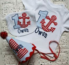 Boys or Girls Anchor Nautical Birthday Applique by bebeboutiques, $70.00