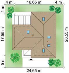 Plot × m domu Bagatela 8 Modern Bungalow House, Bungalow House Plans, Dream House Plans, House Floor Plans, Kitchen Island Bench, Steel House, House Entrance, Design Case, Door Design