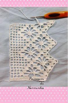 Notte Rosa filet crochet top p Crochet Boarders, Crochet Edging Patterns, Crochet Lace Edging, Crochet Motifs, Thread Crochet, Crochet Trim, Love Crochet, Beautiful Crochet, Crochet Designs