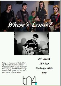 Catch Where's Lewis? perform live on March 29 with special guest at the number one bar and grill in Tunbridge Wells - TN4 Bar!