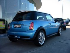 Blue Mini Cooper S back... Almost identical to mine, except my has a black top!