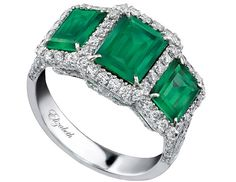 House of Taylor three-stone emerald-and-diamond ring features 6.84 carats of Columbian emeralds and more than 2 carats of diamonds, all set in 18-carat white gold. It sells for $93,600.