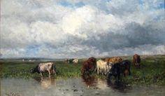 Landschap met koeien aan de waterkant | Willem Roelofs. Willem Roelofs wordt beschouwd als de initiator van de Haagse School. Hij groeide op in Utrecht alwaar hij zijn eerste tekenlessen volgde. In 1840 gaat Roelofs in de leer bij Hendrik van de Sande Bakhuyzen (1795-1860) met wie hij een jaar daarop een reis maakt door Duitsland. Vanaf 1847 woont Roelofs in Brussel waar hij succesvol is. Hij raakt bevlogen door de Franse landschapsschilders van Barbizon waar hij enkele keren naar toe gaat.