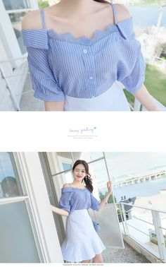 Lace Trim Stripe Off-Shoulder Blouse Best Casual Outfits, Korean Outfits, Blouse And Skirt, Blouse Dress, Korean Blouse, Korean Tops, Indian Gowns Dresses, Blouse Styles, Stylish Dresses