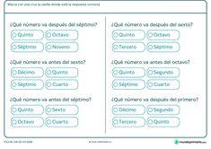 Ficha de qué número va después o antes de uno indicado. Señala la respuesta correcta. Classroom, Google, Search, Spanish Worksheets, Ordinal Numbers, Class Room