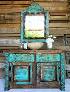 Shabby turquoise bathroom vanity with a bold worn look - chalk paint - Bathroom Decor Distressed Furniture, Repurposed Furniture, Shabby Chic Furniture, Rustic Furniture, Furniture Ideas, Antique Furniture, Furniture Nyc, Furniture Outlet, Discount Furniture