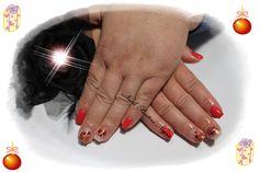 Unhas em Gel em cor red/pink com nail art mix de gliters <3