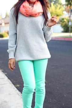 mint green, grey and peach - great combo. Now I know what to wear with my mint jeans other than white!!!:)