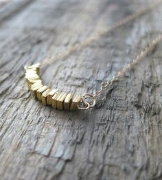 Gold Square Disc Necklace