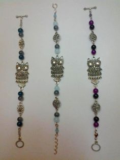 The first bracelets I ever made. This was 3 years ago and they were a big hit! Customization options to suit your favorites colors and wrist size. #owls #bracelets #beads # charms #jewelry #custommade Sorry for the crappy picture quality.
