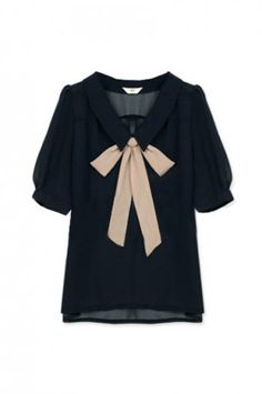 Shop Feminine Bowknot Navy Blue Blouse at ROMWE, discover more fashion styles online. Navy Blue Blouse, Navy Blue Shirts, Black Blouse, Mode Style, Style Me, Look Fashion, Autumn Fashion, Holiday Fashion, Fashion Shoes