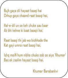 ♥♥♥  Sher-O-Shayari  ♥♥♥: Khumar Barabankvi Ghazal
