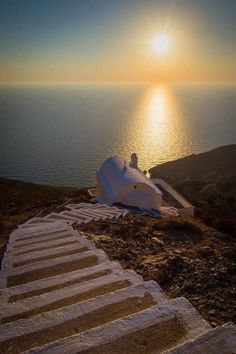 Chapel at sunset in Olympos village - Karpathos Island, Greece Places To Travel, Places To See, Myconos, Greece Islands, Santorini Greece, Paros Greece, Beautiful Places To Visit, Greece Travel, Belle Photo