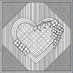 Perhaps more spacing between lines in backgrounds. Easy Hand Quilting, Hand Quilting Patterns, Machine Quilting Designs, Longarm Quilting, Easy Quilts, Free Motion Quilting, Quilting Projects, Whole Cloth Quilts, Embroidery Hearts
