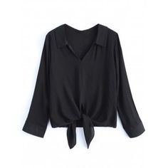 2018 Tied Loose Blouse BLACK S In Blouses Online Store. Best Loose Sweater Dress For Sale | DressLily.com