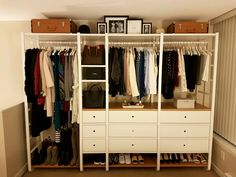 The lovely Ikea Elvarli open wardrobe (all of my clothing, shoes, and bags in…