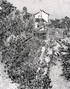 Vincent van Gogh Drawing, reed pen and ink Arles: August, 1888 Collection of William Acquavella New York, New York, United States of America - Van Gogh: A Garden with Flowers Vincent Van Gogh, Van Gogh Drawings, Van Gogh Paintings, Pencil Drawings, Art Van, Painting Frames, Painting Prints, Van Gogh Zeichnungen, Desenhos Van Gogh