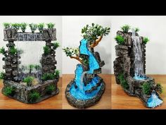 M craft top 5 waterfall fountain show piece Waterfall Project, Garden Waterfall, Waterfall Fountain, Fairy Fountain, Diy Water Fountain, Diy Cement Planters, Cement Crafts, Fairy Garden Pots, Garden Art