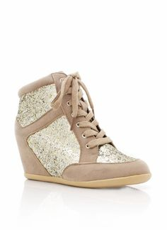 Girl, you'll be the definition of 'fly' in these glitter sneaker wedges. Suede Shoes, On Shoes, Me Too Shoes, Shoes Heels, High Heel Tennis Shoes, High Heels, Cheap Wedges, Hidden Wedge Sneakers, Glitter Shoes