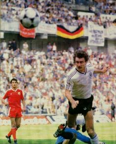 West Germany 2 Romania 1 in 1984 in Lens. Rudi Voller heads Germany's first goal in on 25 minutes in Group B at Euro '84.
