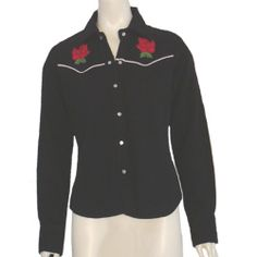 Vintage Inspired Cowgirl Black Western Blouse Embroidery