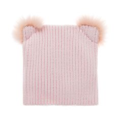 Baby girls pretty pink ribbed beanie with pom pom ear style detail. One size fits all. Cotton.