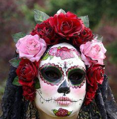 La máscara de la Catrina de Rosa día de los muertos por EffigyMasks