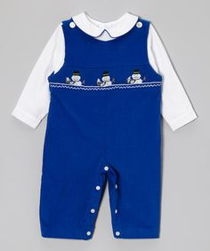 Take a look at this White Top & Cobalt Snowmen Overalls - Infant & Toddler by Vive La Fête on #zulily today!