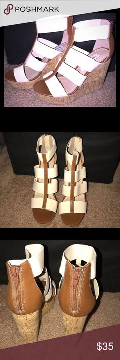 NWOT!! Brand new Steve Madden wedges!! ♥️ Steve Madden NEW never worn Selinah wedges! Beige, brown, corkscrew bottom, and zipper back! Super cute and neutral colors! Never worn, reposhing because I purchased another neutral pair. Steve Madden Shoes Wedges