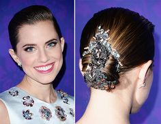 don't love the dress or the front part of the hair, but this bejeweled bun is AWESOME. // byrdie