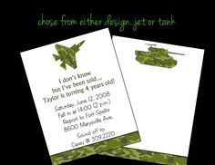 10 Camo Air Jet Army Tank Birthday Party Invitations or Printable DIY U Print. $10.00, via Etsy.