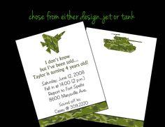 10 Camo Air Jet Army Tank Birthday Party Invitations or Printable DIY U Print. $10.00, via Etsy.