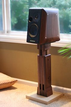 Image result for how to make a speaker stand wood?
