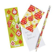Christmas Print Stationery Set.  Your Christmas lists and season's greetings are taken care of with this Christmas Stationery Set.  Perfect for office 'secret santa' gift exchanges or for stuffing into those Christmas stockings, this festive trio is sure to become an essential in your bag of Christmas supplies!  Each set includes a 19.1 cm wooden pencil with #2 lead, a 5.08 cm x 10.2 cm notepad with 30 blank pages and a sheet of 14 assorted stickers.