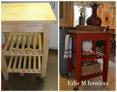 ikea bekvam island kitchen cart makeover project painted and stained. Annie Sloan Chalk Paint Emperors Silk Red. Love this blog for decorating ideas