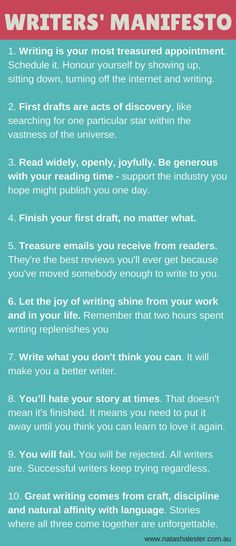 A Manifesto For Writers - to keep you motivated, inspired and enthusiastic about... #inspire #love #life - Urban Angels