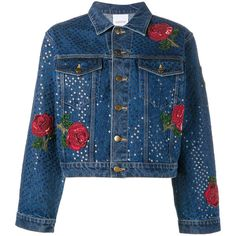 Ashish sequin embellished denim jacket (3,290 BAM) ❤ liked on Polyvore featuring outerwear, jackets, tops, blue, coats & jackets, blue jean jacket, blue denim jacket, sequin jacket, jean jacket and ashish