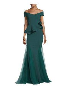Chiara Boni La Petite Robe Lady Cap-Sleeve Peplum Mermaid Gown