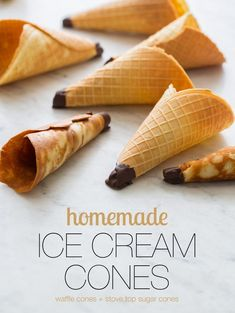 We have two Homemade Ice Cream Cones recipe for you. One for homemade waffle cones, and the other for stove top sugar cones. Ice Cream Treats, Make Ice Cream, Ice Cream Desserts, Homemade Ice Cream, Frozen Desserts, Ice Cream Recipes, Ice Cream Cones, Spoon Fork Bacon, Pastries