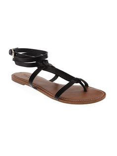 Faux Leather T-Strap Sandals for Women