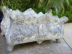 Garden Sculpture White Metal Planter by designeruniquefinds