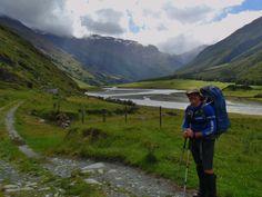Enthusiastic for the hike through Matukituki Valley, New Zealand