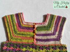 This is a child size 3-5 years of my free crochet pattern Iris Toddler Top  (size 18 months-2 years).           Child size on the left...