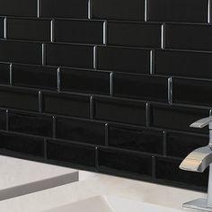 Smart Tiles Mosaik Metro Nero x Peel & Stick Subway Tile in Black Adhesive Backsplash, Peel Stick Backsplash, Black Backsplash, Peel And Stick Tile, Stick On Tiles, Adhesive Tiles, Peel And Stick Countertop, Backsplash Tile, Backsplash Ideas