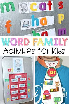 Fun ideas for teaching primary children to read. Teaching word family activities and lessons in the classroom will help kids learn to read and spell through phonics and hands-on activities. #wordfamilies #phonics #earlyliteracy #kindergarten #wordwork