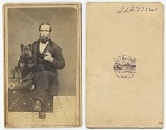 CDV PHOTO PORTRAIT OF A WELL DRESSED MAN   HIS DOG FROM CLINTON, MASS