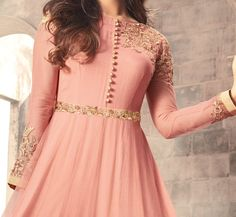 New African Fashion Ideas 9346223517 Indian Anarkali Dresses, Anarkali Tops, Party Wear Indian Dresses, Pakistani Dresses Casual, Anarkali Suits, Simple Gown Design, Peach Clothes, Cotton Gowns, Simple Gowns